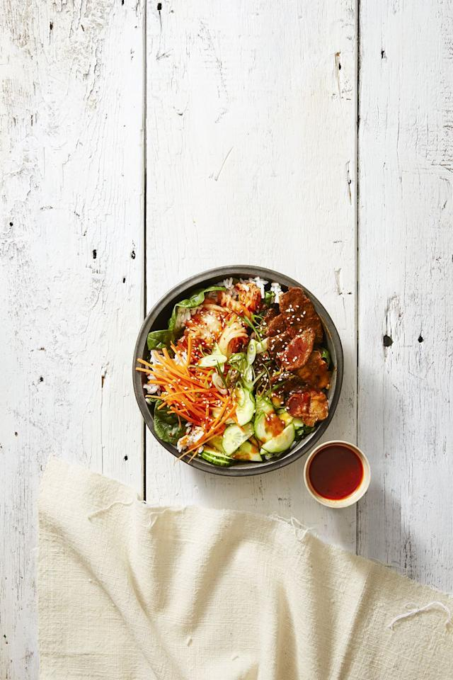 """<p>Serve Korean BBQ in the comfort of your own home with this sweet and spicy (and sticky!) <a rel=""""nofollow"""" href=""""https://www.goodhousekeeping.com/food-recipes/easy/g4515/rice-bowl-recipes/"""">rice bowl</a> recipe.</p><p><em><a rel=""""nofollow"""" href=""""https://www.goodhousekeeping.com/food-recipes/a42379/spicy-sesame-rice-bowls-recipe/"""">Get the recipe for Spicy Sesame Rice Bowls »</a></em><a rel=""""nofollow""""></a></p>"""