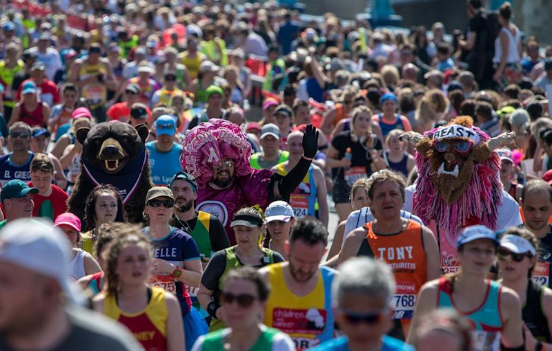 Standing out from the crowd: Although comfort is key, many runners will undoubtedly still don impressive fancy dress for the run (Getty Images)