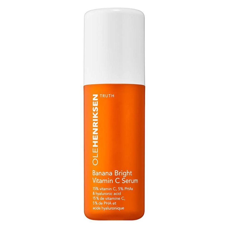 """<p><strong>OLEHENRIKSEN</strong></p><p>sephora.com</p><p><strong>$65.00</strong></p><p><a href=""""https://go.redirectingat.com?id=74968X1596630&url=https%3A%2F%2Fwww.sephora.com%2Fproduct%2Fole-henriksen-banana-bright-vitamin-c-serum-P456566&sref=https%3A%2F%2Fwww.bestproducts.com%2Fbeauty%2Fg20966726%2Fvitamin-c-face-serum-reviews%2F"""" rel=""""nofollow noopener"""" target=""""_blank"""" data-ylk=""""slk:Shop Now"""" class=""""link rapid-noclick-resp"""">Shop Now</a></p><p>If you're new to vitamin C, then your skin may need to start with a lower dose to keep irritation at bay. Enter: this vitamin C serum from Ole Henriksen. </p><p>It has 15% vitamin C, which is balanced with gentle exfoliating PHAs and hydrating hyaluronic acid to soothe and comfort even the most sensitive of skin types.</p>"""