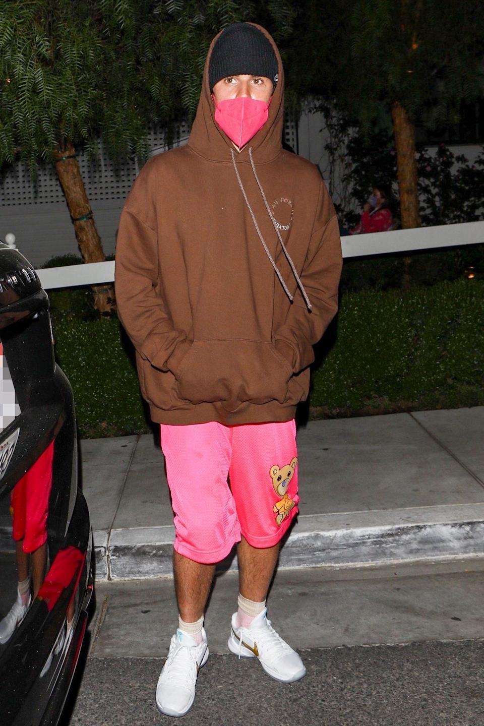 <p>Justin Bieber and wife Hailey (not pictured) leave dinner at the San Vicente Bungalows in West Hollywood on Wednesday night. </p>