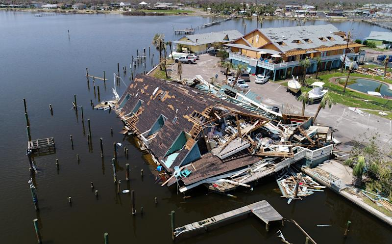 An aerial photo shows damage caused by Hurricane Harvey in Rockport, Texas, U.S., Aug. 31, 2017. (Drone Base / Reuters)