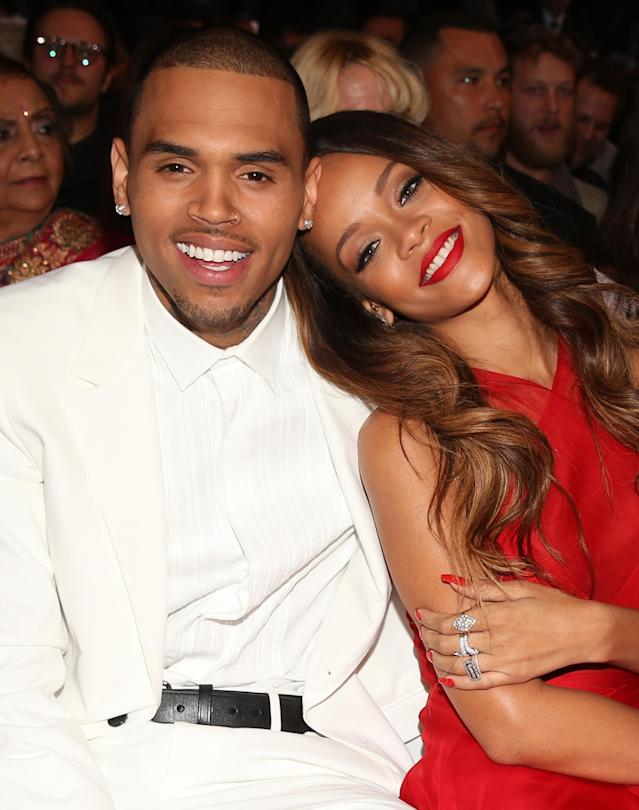 Rihanna and Chris Brown attend the Grammy Awards in 2013. (Photo: Getty Images)