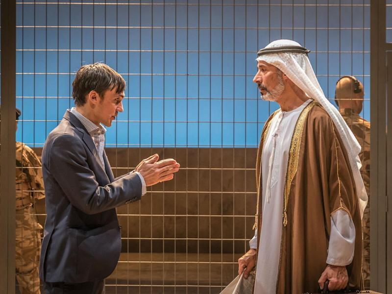 Henry Lloyd-Hughes (Rory Stewart) and Silas Carson (Karim) in 'Occupational Hazards' at Hampstead Theatre