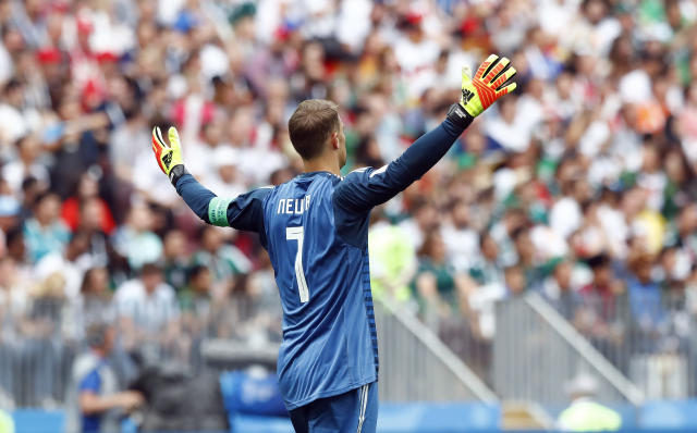 Germany goalkeeper Manuel Neuer gestures during the group F match between Germany and Mexico at the 2018 soccer World Cup in the Luzhniki Stadium in Moscow, Russia, Sunday, June 17, 2018. (AP Photo/Matthias Schrader)