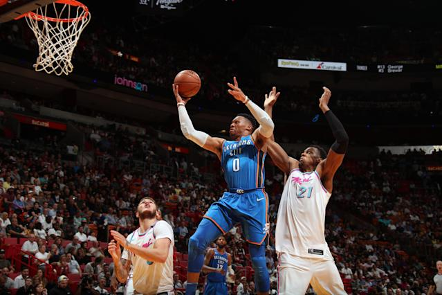 MIAMI, FL - APRIL 9: Russell Westbrook #0 of the Oklahoma City Thunder goes to the basket against the Miami Heat on April 9, 2018 at American Airlines Arena in Miami, Florida. (Photo by Issac Baldizon/NBAE via Getty Images)