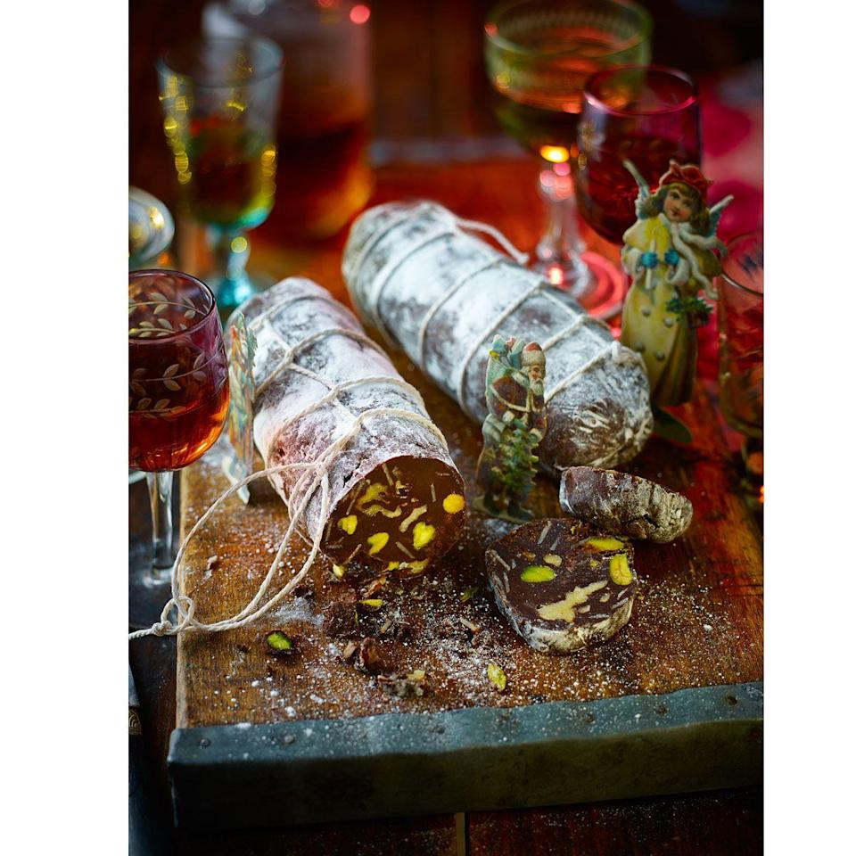"""<p>This looks just like the classic cured sausage, but is actually full of nuts and chocolate!</p><p><strong>Recipe: <a href=""""https://www.goodhousekeeping.com/uk/christmas/christmas-recipes/chocolate-salami"""" rel=""""nofollow noopener"""" target=""""_blank"""" data-ylk=""""slk:Chocolate salami"""" class=""""link rapid-noclick-resp"""">Chocolate salami</a></strong><br></p><p><br><br></p>"""