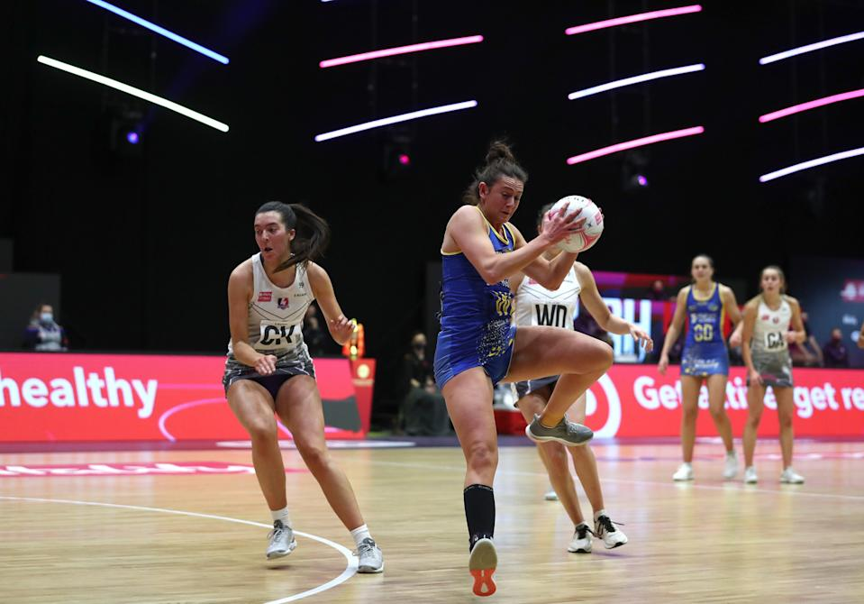 <p>Rachel Shaw of Team Bath in action in the Vitality Netball Superleague</p> (Getty)