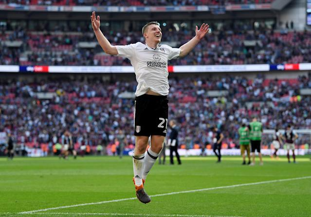 "Soccer Football - Championship Play-Off Final - Fulham vs Aston Villa - Wembley Stadium, London, Britain - May 26, 2018 Fulham's Matt Targett celebrates promotion to the Premier League Action Images via Reuters/Tony O'Brien EDITORIAL USE ONLY. No use with unauthorized audio, video, data, fixture lists, club/league logos or ""live"" services. Online in-match use limited to 75 images, no video emulation. No use in betting, games or single club/league/player publications. Please contact your account representative for further details."