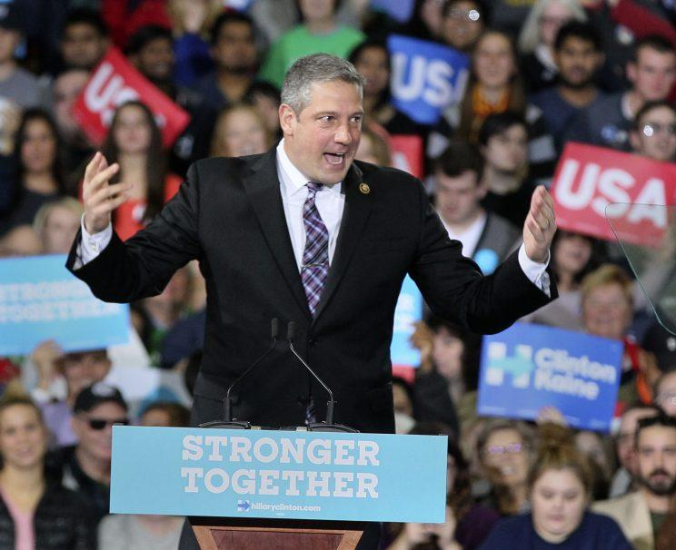 Rep. Tim Ryan of Ohio warms up the crowd at Kent State a week before the election. (Photo: Michael Chritton/Akron Beacon Journal/TNS via Getty Images)