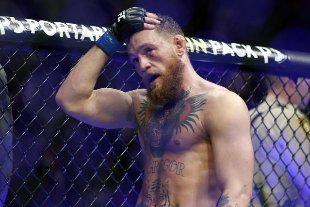 Conor McGregor, shown here after losing to Khabib Nurmagomedov at UFC 229 in Las Vegas, was fined $50,000 and suspended for six months by the Nevada State Athletic Commission. (AP Photo/John Locher, File)