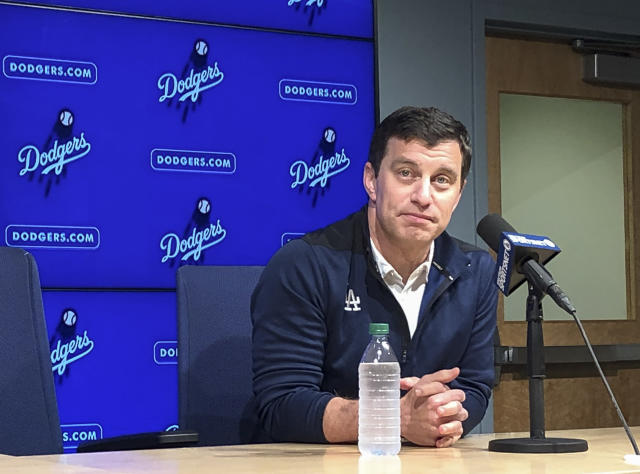 Andrew Friedman, president of baseball operations, discusses the Los Angeles Dodgers offseason at a news conference at Dodger Stadium in Los Angeles Monday, Oct. 14, 2019. His contract with the team expires at month's end. (AP Photo/Beth Harris)