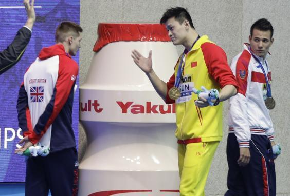 The Chinese star clashed with Team GB swimmer Duncan Scott (AP)
