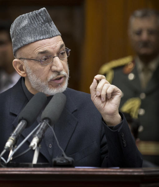 A Wednesday, March 6, 2013 photo of Afghan President Hamid Karzai delivering a speech at the Afghan Parliament where he angered the United States with a promise to release prisoners currently at the U.S. controlled Bagram prison north of Kabul. Karzai has made several statements including accusing the U.S. of colluding with the Taliban, driving relations between the two countries to an all time low. (AP Photo/Anja Niedringhaus)