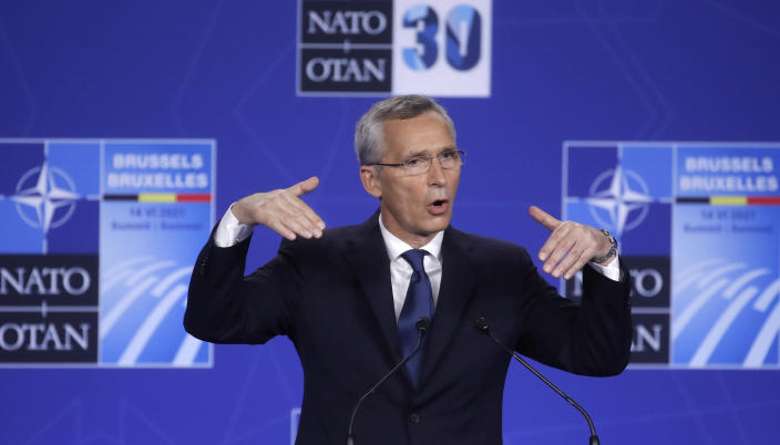NATO Secretary General Jens Stoltenberg speaks during a media conference at a NATO summit in Brussels, Monday, June 14, 2021. U.S. President Joe Biden is taking part in his first NATO summit, where the 30-nation alliance hopes to reaffirm its unity and discuss increasingly tense relations with China and Russia, as the organization pulls its troops out after 18 years in Afghanistan. (Olivier Hoslet, Pool via AP)