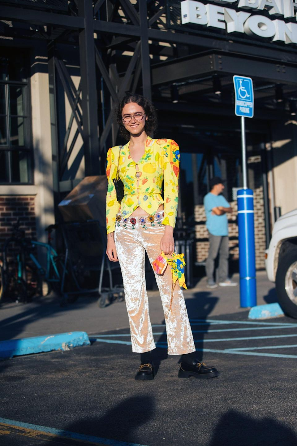 <p>Ella Emhoff made the rounds at Fashion Week in this sunny sculptural jacket. </p>