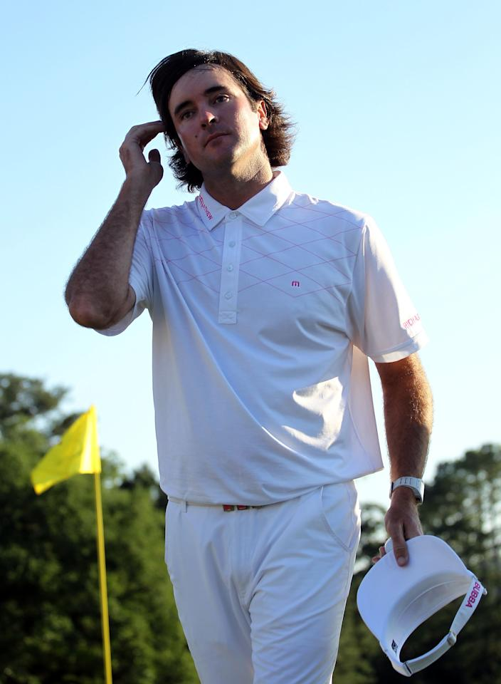 AUGUSTA, GA - APRIL 07:  Bubba Watson of the United States walks off of the green after completing the third round of the 2012 Masters Tournament at Augusta National Golf Club on April 7, 2012 in Augusta, Georgia.  (Photo by Jamie Squire/Getty Images)
