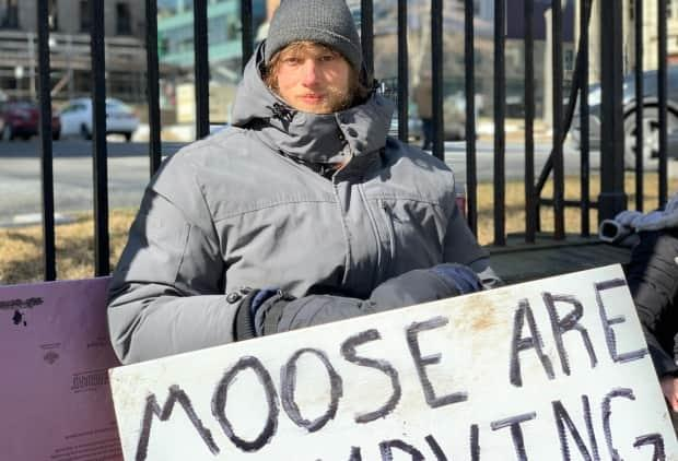 Wednesday marked Day 17 of Jacob Fillmore's hunger strike outside Province House. (Michael Gorman/CBC - image credit)