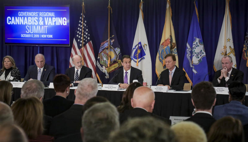 Pennsylvania Gov. Tom Wolf, third from left, New York Gov. Andrew Cuomo, center, Connecticut Gov. Ned Lamont, second from right, and New Jersey Gov. Phil Murphy, right, co-host a regional summit on public health issues around cannabis and vaping, Thursday Oct. 17, 2019, in New York. (AP Photo/Bebeto Matthews)