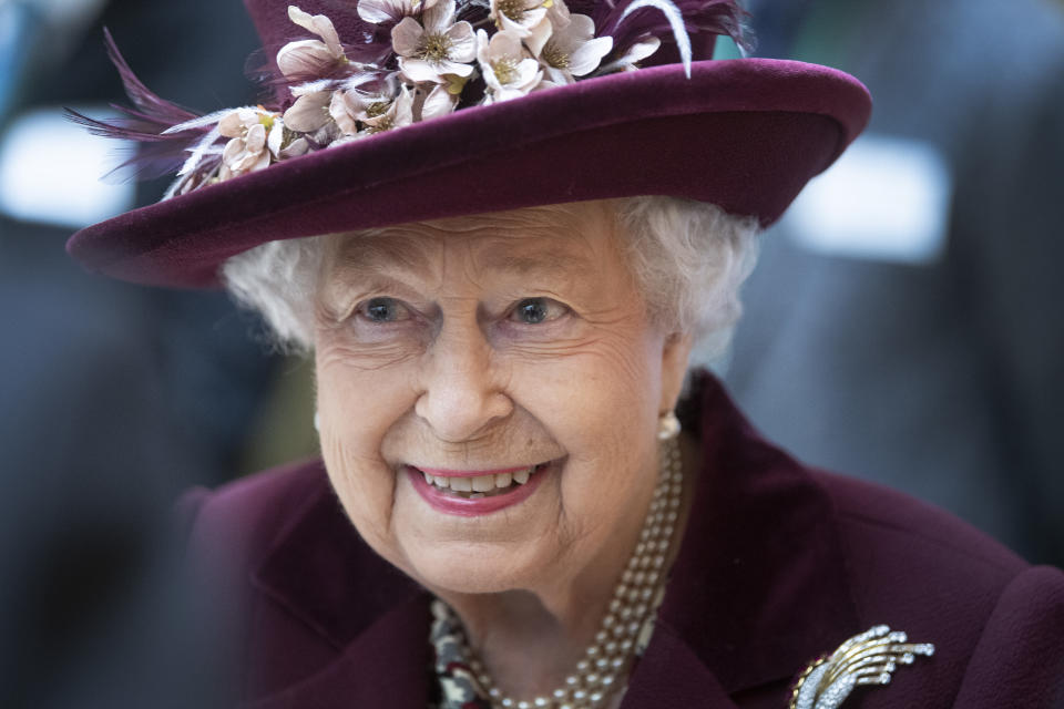 LONDON, UNITED KINGDOM - FEBRUARY 25: Queen Elizabeth II during a visit to the headquarters of MI5 at Thames House on February 25, 2020 in London, England. MI5 is the United Kingdom's domestic counter-intelligence and security agency. (Photo by Victoria Jones - WPA Pool/Getty Images)