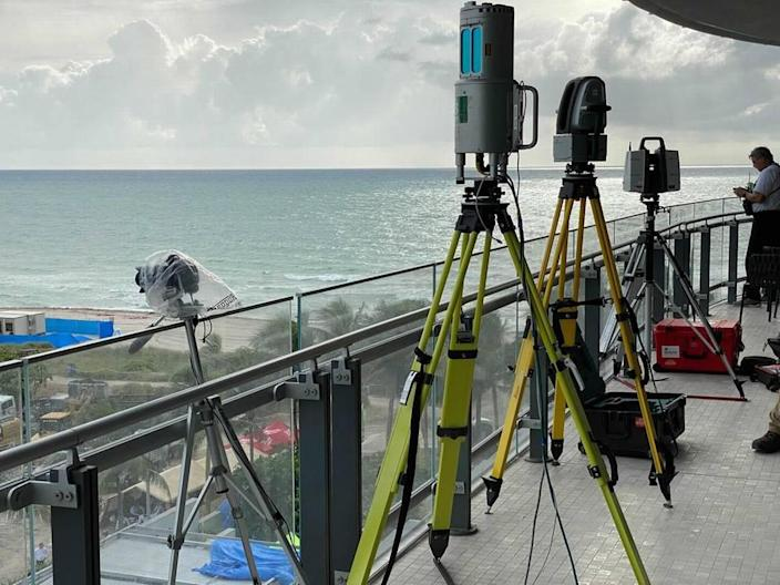 Cameras and lidar used by NIST and its partners scan and record the site of the Champlain Towers South condominium.