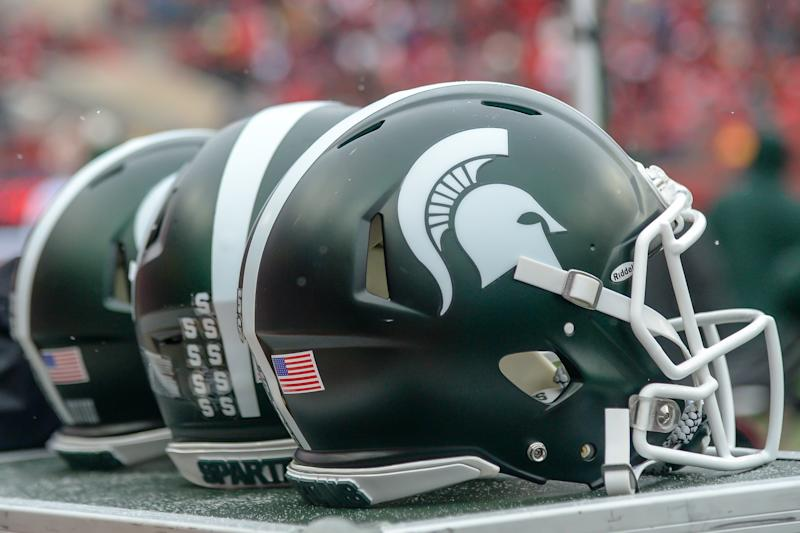 LINCOLN, NE - NOVEMBER 17: Helmets of the Michigan State Spartans during the game against the Nebraska Cornhuskers at Memorial Stadium on November 17, 2018 in Lincoln, Nebraska. (Photo by Steven Branscombe/Getty Images)