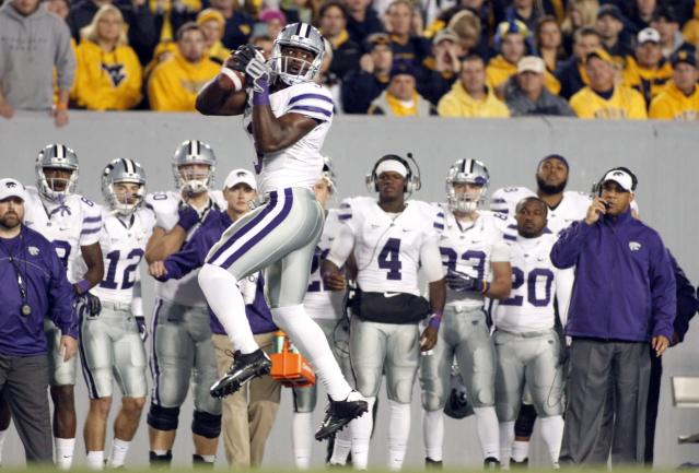 MORGANTOWN, WV - OCTOBER 20: Chris Harper #3 of the Kansas State Wildcats pulls in a catch against the West Virginia Mountaineers during the game on October 20, 2012 at Mountaineer Field in Morgantown, West Virginia. (Photo by Justin K. Aller/Getty Images)