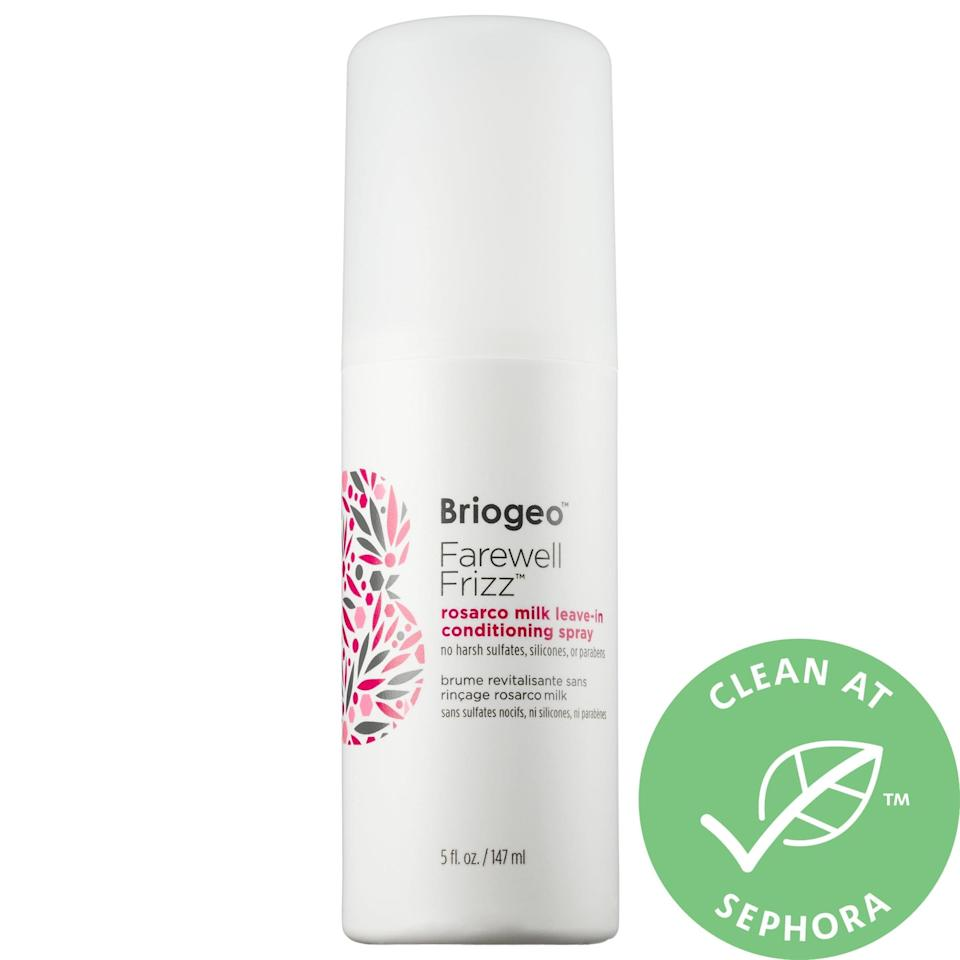 <p>This bestselling, nongreasy <span>Briogeo Rosarco Milk Reparative Leave-In Conditioning Spray</span> ($9-$20) seals cuticles to serve as a barrier against damaging heat, whether that heat comes from a hot tool or the sun. Plus, hair stays moisturized, less frizzy, and more manageable thanks to the rosehip, argan, and coconut oils inside.</p>
