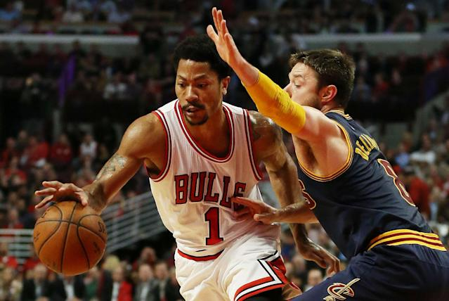 Derrick Rose #1 of the Chicago Bulls. (Photo by Jonathan Daniel/Getty Images)