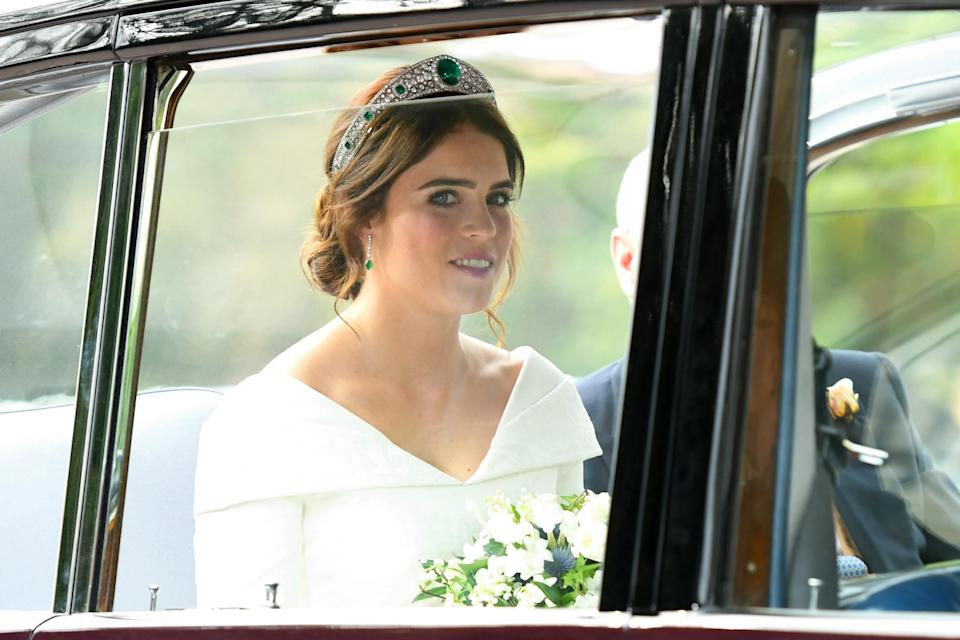 Princess Eugenie chose a traditional wedding gown by British designer Peter Pilotto to marry Jack Brooksbank [Photo: Getty]