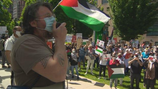 Pro-Palestinian demonstrators gathered in Vancouver on Saturday.