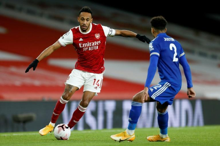 Gabon star Pierre-Emerick Aubameyang (L) playing for Arsenal against Leicester City last Sunday in the English Premier League