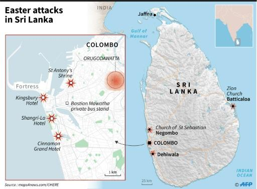 Maps of Sri Lanka and its capital Colombo, marking the locations of a series of suicide bombings on April 21, 2019
