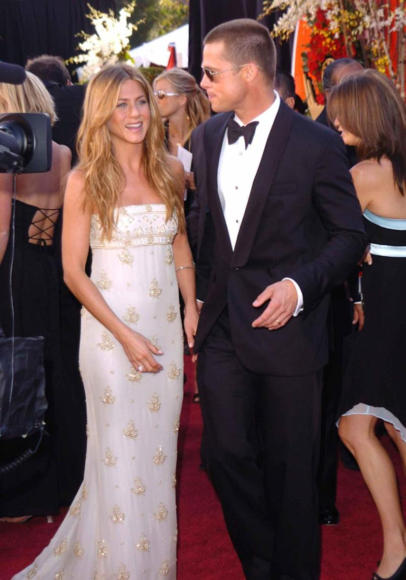Brad and Jen split in 2005. They are pictured here together at the 2004 Emmy Awards. Source: Getty