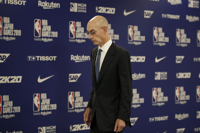 NBA Commissioner Adam Silver addressed the safety of having the NBA season at Disney World while Florida handles rising COVID-19 cases. (AP Photo/Jae C. Hong)