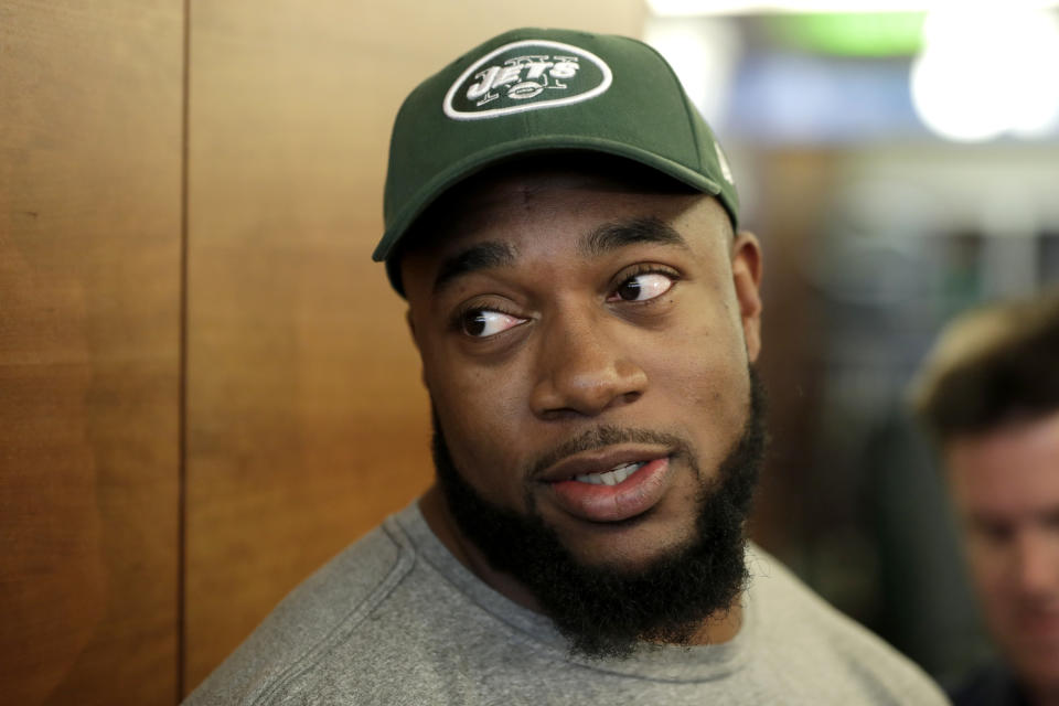 FILE - In this Saturday, May 5, 2018 file photo, New York Jets' Nathan Shepherd, who was drafted in the third round of the 2018 draft, speaks to reporters during NFL rookie camp in Florham Park, N.J. New York Jets defensive lineman Nathan Shepherd has been suspended six games by the NFL for violating the league's policy on performance-enhancers. The NFL announced the suspension Tuesday, Sept. 10, 2019. (AP Photo/Julio Cortez, File)