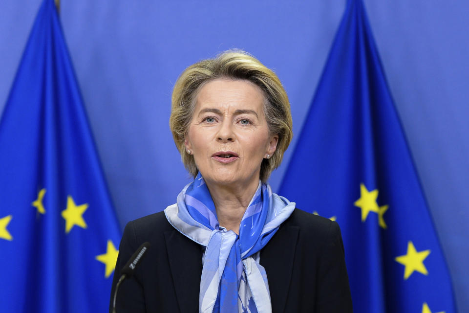 European Commission President Ursula von der Leyen delivers a statement on the marketing authorization of the Pfizer-BioNTech vaccine against COVID-19 at EU headquarters in Brussels, Monday, Dec. 21, 2020. The European Union on Monday gave official approval for the coronavirus vaccine developed by BioNTech and Pfizer to be used across the 27-nation bloc, raising hopes that countries can begin administering the first shots to their citizens shortly after Christmas. (Johanna Geron, Pool via AP)