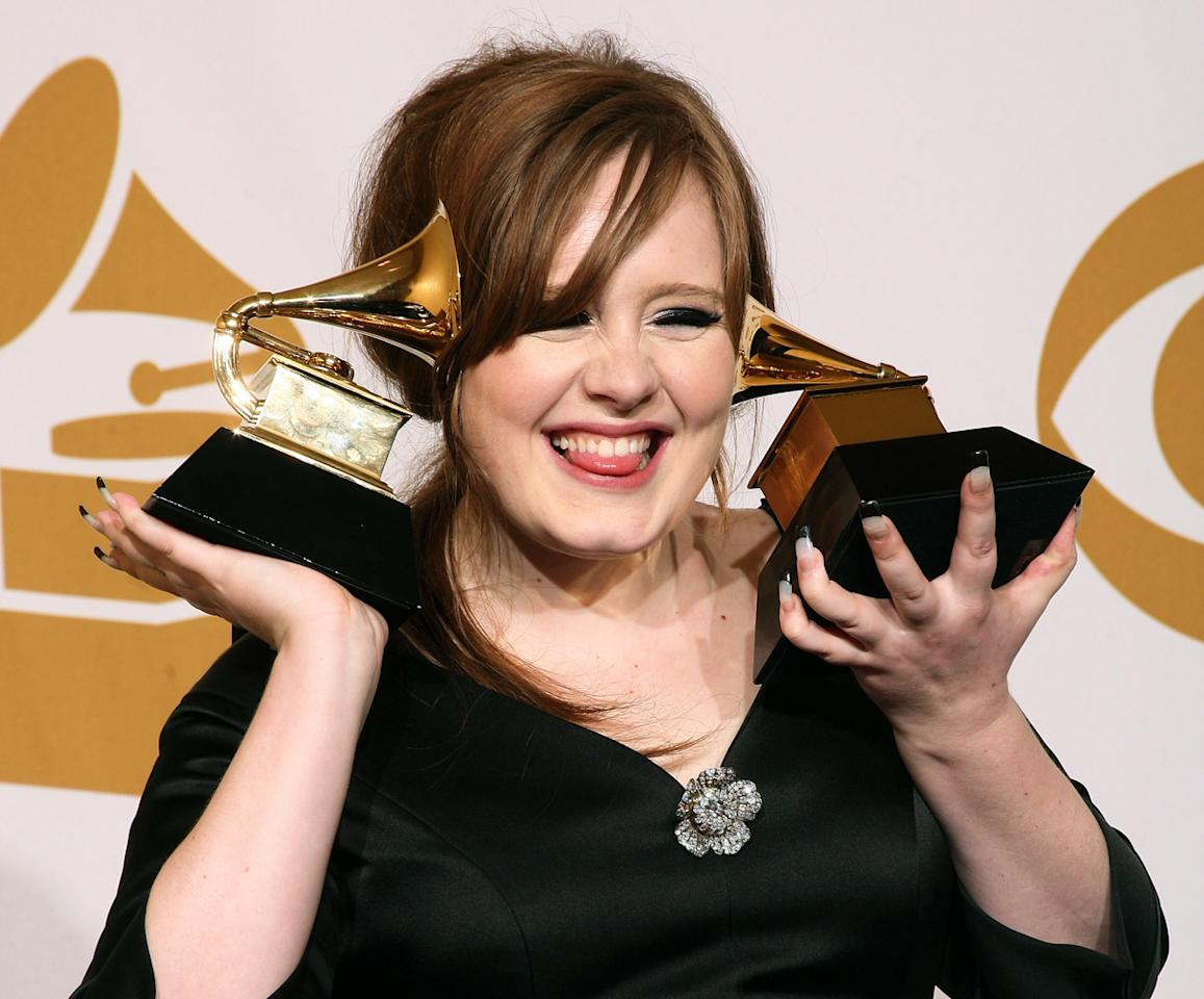"Singer Adele, winner of two awards; Best Female Pop Vocal Performance for ""Chasing Pavements"" and Best New Artist, poses in the press room during the 51st Annual Grammy Awards held at the Staples Center on February 8, 2009 in Los Angeles, California.  (Photo by Jason Merritt/Getty Images)"