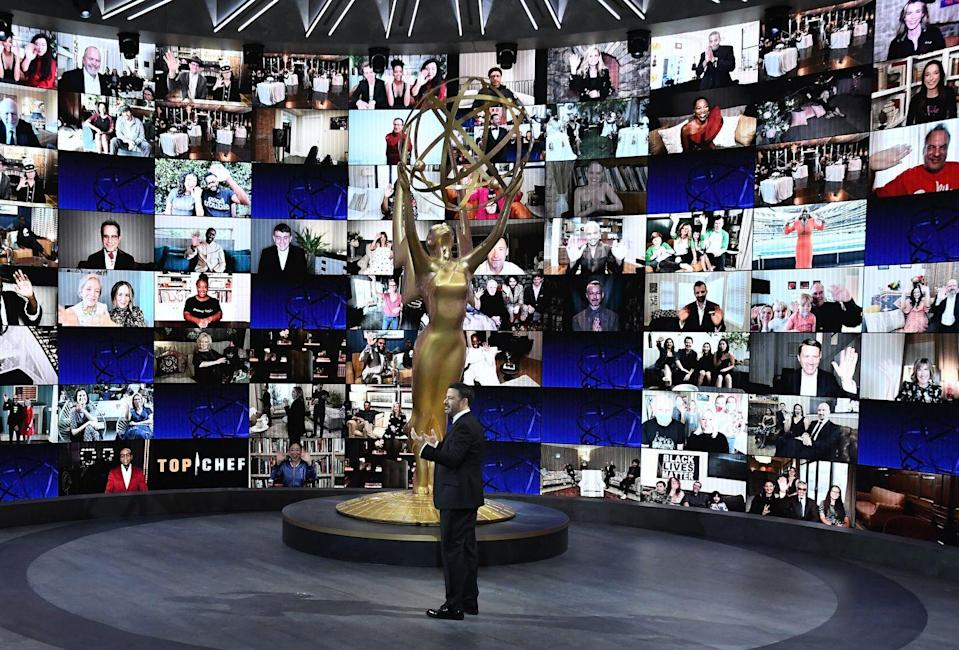 """<p>The 2020 Emmys kicked off with a truly puzzling bang, with production splicing <a href=""""https://www.goodhousekeeping.com/life/entertainment/a34089847/emmys-2020-audience-reaction/"""" rel=""""nofollow noopener"""" target=""""_blank"""" data-ylk=""""slk:footage of last year's audience reacting and laughing into Jimmy's monologue"""" class=""""link rapid-noclick-resp"""">footage of last year's audience reacting and laughing into Jimmy's monologue</a>. It left viewers confused for a hot minute that show actually had a real audience in attendance. Kimmel revealed after about 10 minutes that it was all a joke, but it was a strange start nonetheless. </p>"""