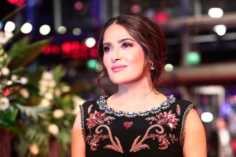 "BERLIN, GERMANY - FEBRUARY 26: Salma Hayek poses at the ""The Roads Not Taken"" premiere during the 70th Berlinale International Film Festival Berlin at Berlinale Palace on February 26, 2020 in Berlin, Germany. (Photo by Gisela Schober/Getty Images)"