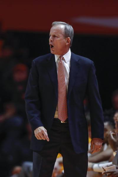 Tennessee head coach Rick Barnes yells to his players during the first half of an NCAA college basketball game against Jacksonville State Saturday, Dec. 21, 2019, in Knoxville, Tenn. (AP Photo/Wade Payne)