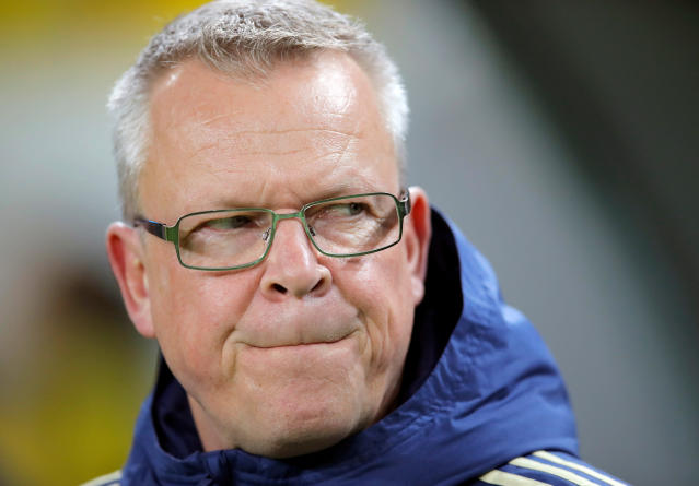In this image taken on Tuesday, March 27, 2018 Sweden's head coach Janne Andersson grimaces before an international friendly soccer match between Romania and Sweden on the Ion Oblemenco stadium in Craiova, Romania. (AP Photo/Vadim Ghirda)