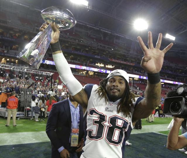 Former New England Patriots running back Brandon Bolden, shown here after Super Bowl XLIX, had two early touchdowns against his former team. (AP)