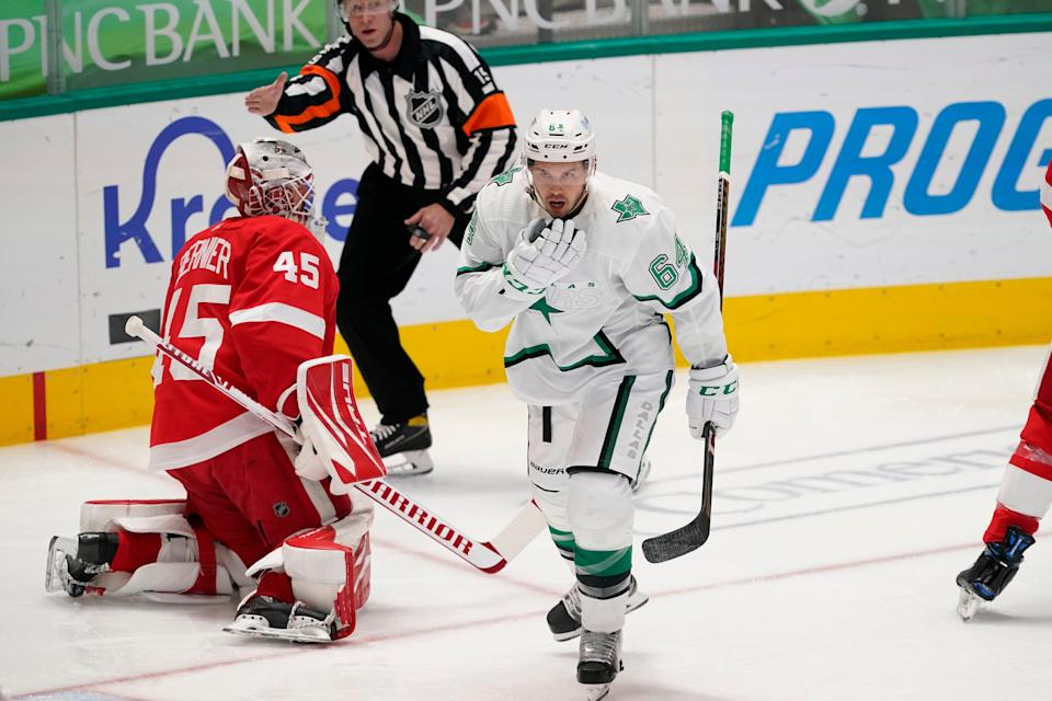 Detroit Red Wings goaltender Jonathan Bernier (45) sits by the net after Dallas Stars center Tanner Kero (64) scored a goal in the first period at American Airlines Center in Dallas on Tuesday, April 20, 2021.