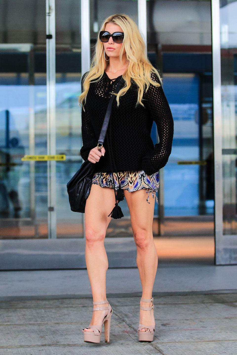 <p><strong>Jessica Simpson, 2014</strong>: Not only are her shorts insanely small, but, also, absurd shoes. (Though her legs look amazing.)</p>