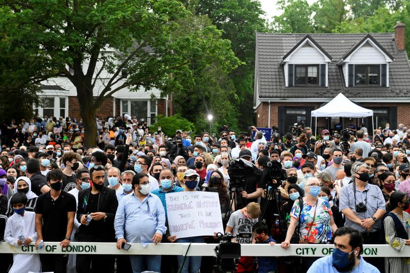 Vigil outside the London Muslim Mosque organized after four members of a Canadian Muslim family were killed in what police describe as a hate-motivated attack in London, Ontario
