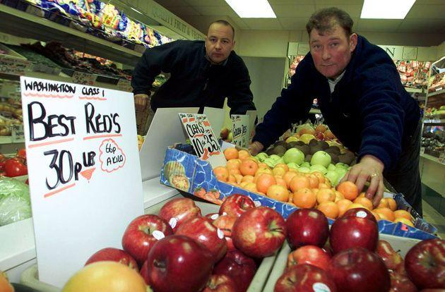 <strong>Steve Thoburn (right) with friend Neil Herron at hisfruit and veg shop in Sunderland. The