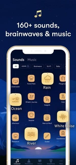 Screenshot of Relax Melodies app showing available sleep sounds