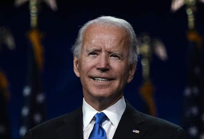 """<span class=""""caption"""">Democratic presidential candidate Joe Biden.</span> <span class=""""attribution""""><a class=""""link rapid-noclick-resp"""" href=""""https://www.gettyimages.com/detail/news-photo/former-vice-president-and-democratic-presidential-nominee-news-photo/1228133355?adppopup=true"""" rel=""""nofollow noopener"""" target=""""_blank"""" data-ylk=""""slk:Olivier Douliery/AFP via Getty Images"""">Olivier Douliery/AFP via Getty Images</a></span>"""