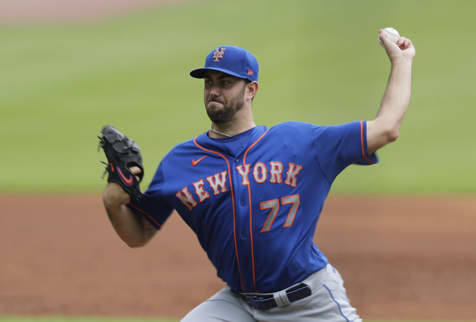 New York Mets' starting pitcher David Peterson (77) delivers in the first inning of a baseball game against the Atlanta Braves, Sunday, Aug. 2, 2020, in Atlanta. (AP Photo/Brynn Anderson)