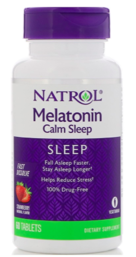 PHOTO: iHerb. Natrol, Melatonin Calm Sleep, fast dissolve, strawberry flavour, 60 tablets
